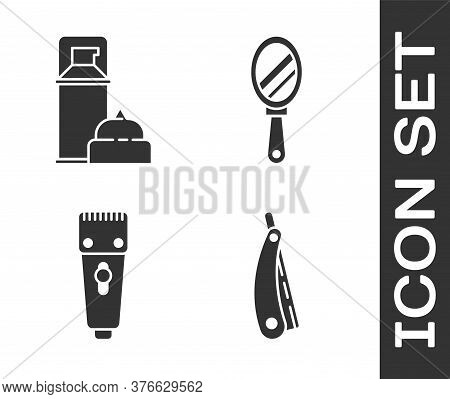Set Straight Razor, Shaving Gel Foam, Electrical Hair Clipper Or Shaver And Hand Mirror Icon. Vector