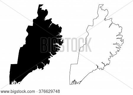 Eastern Region (iceland Island, Regions Of Iceland) Map Vector Illustration, Scribble Sketch Austurl