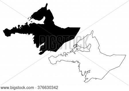 Western Region (iceland Island, Regions Of Iceland) Map Vector Illustration, Scribble Sketch Vesturl