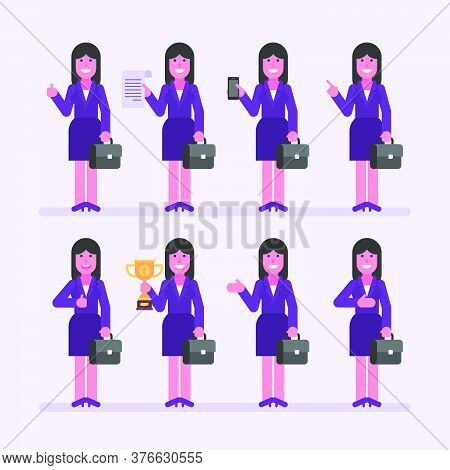 Business Woman Brunette Holds Suitcase And Various Objects. Character Set