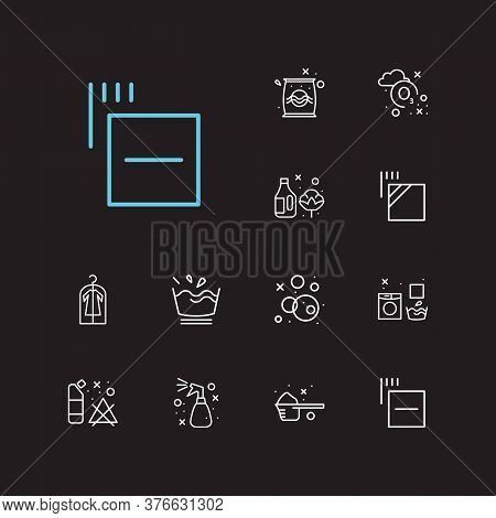 Laundry Icons Set. Delicate And Laundry Icons With Spray, Garment Bag And Fabric Softener. Set Of Th