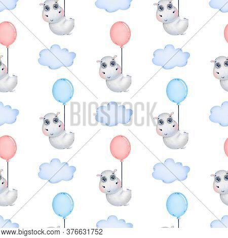 Cute Cartoon Hippo Flying With A Balloon Among The Clouds Seamless Pattern