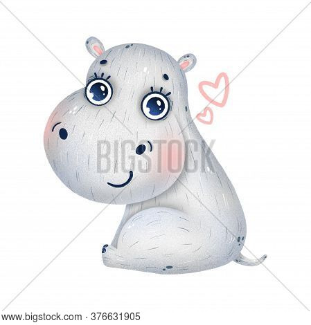 Cute Baby Hippo With Big Eyes And Hearts On A White Background