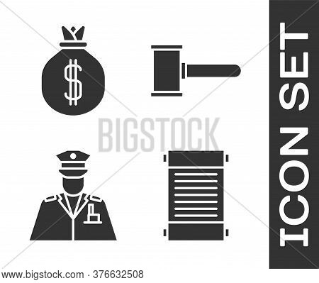 Set Decree, Paper, Parchment, Scroll, Money Bag, Police Officer And Judge Gavel Icon. Vector