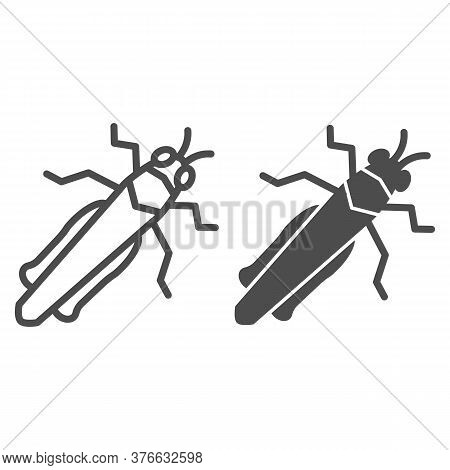 Grasshopper Line And Solid Icon, Insects Concept, Locust Sign On White Background, Cricket Icon In O