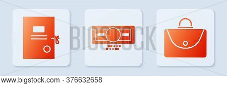 Set Stacks Paper Money Cash, Lawsuit Paper And Briefcase. White Square Button. Vector