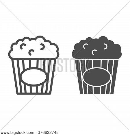 Popcorn Line And Solid Icon, Street Food Concept, Popcorn In Striped Tub Sign On White Background, P