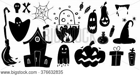 Halloween Silhouettes. Horror Holiday Icons Collection, Pumpkins And Box, Gift And Cobweb, Cat And P