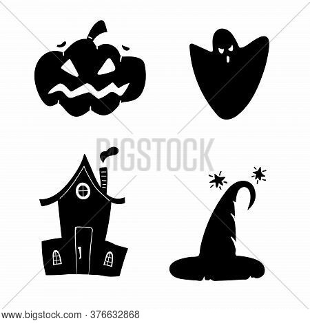 Halloween Silhouettes. Horror Holiday Icons Collection Pumpkin And Hat, Witch House And Magic Hat, B