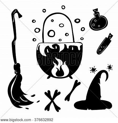 Halloween Silhouettes. Horror Holiday Icons Collection, Broom And Hat, Potion And Bones Black Doodle
