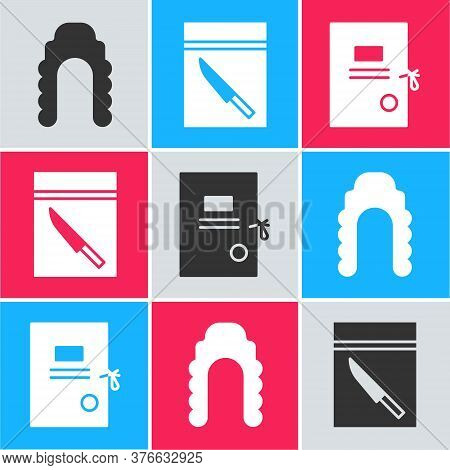 Set Judge Wig, Evidence Bag And Knife And Lawsuit Paper Icon. Vector
