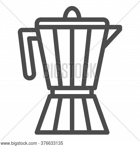 Coffee Maker Line Icon, Kitchen Appliances Concept, Coffee Pot Sign On White Background, Geyser Coff
