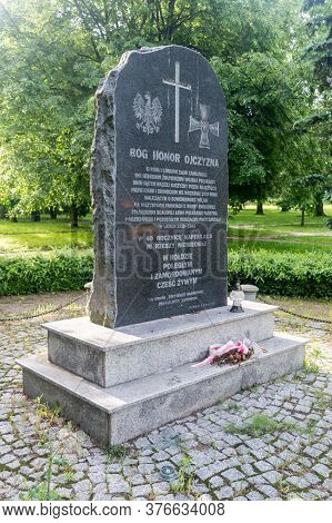 Zamosc, Poland - June 12, 2020: Monument In Tribute To The Fallen And Murdered On The 60th Anniversa
