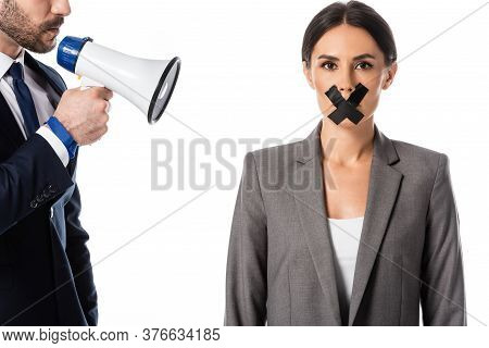 Bearded Businessman Holding Megaphone Near Businesswoman With Duct Tape On Mouth Isolated On White,