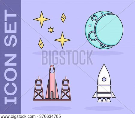 Set Rocket Ship, Falling Stars, Rocket Launch From The Spaceport And Moon Icon. Vector