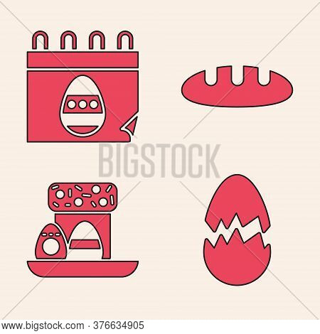 Set Broken Egg, Calendar With Easter Egg, Bread Loaf And Easter Cake And Eggs Icon. Vector