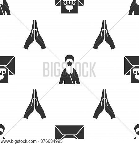 Set Greeting Card With Happy Easter, Jesus Christ And Hands In Praying Position On Seamless Pattern.