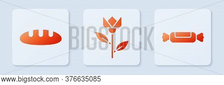 Set Flower Tulip, Bread Loaf And Candy. White Square Button. Vector