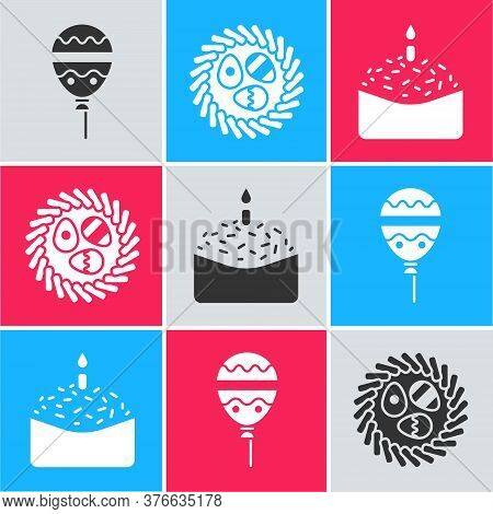 Set Balloons With Ribbon, Easter Egg In A Wicker Nest And Easter Cake And Candle Icon. Vector