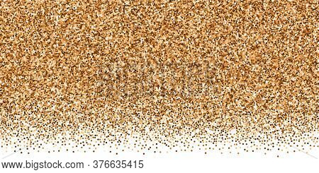 Red Round Gold Glitter Luxury Sparkling Confetti. Scattered Small Gold Particles On White Background