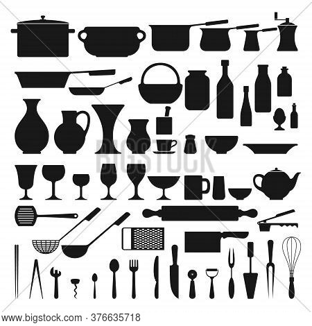 Kitchenware Related Set Of A 57 Object Silhouettes