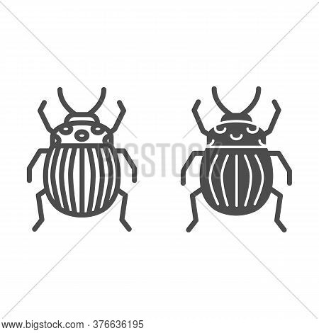 Colorado Potato Beetle Line And Solid Icon, Bugs Concept, Striped Beetle Sign On White Background, P