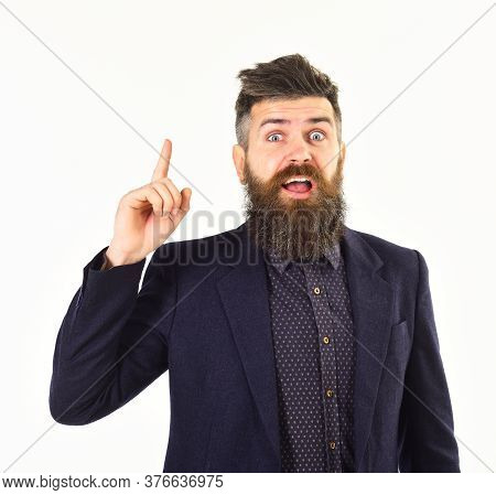 Argument And Success Concept. Bearded Man Says Business Argument