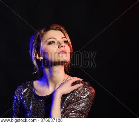 Woman With Mysterious Face On Black Background