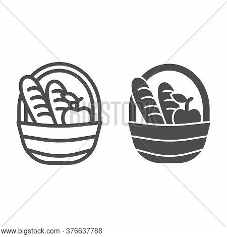 Basket With Loaves And Apple Line And Solid Icon, Food Concept, Picnic Basket Full Of Delicious Frui