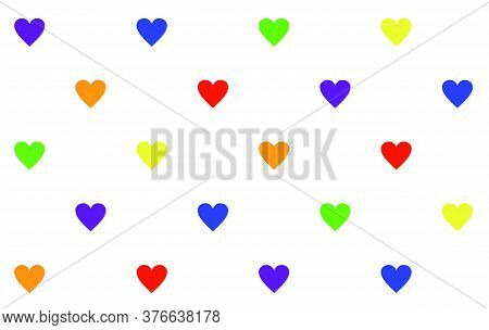 Minimalistic Pattern Of Hearts Set In Rainbow Colors: Pride Flag, Heart, Peace, Rainbow, Love, Suppo