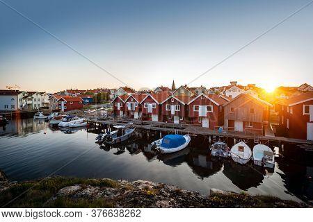 Wooden fishing huts Sweden, Scandinavia
