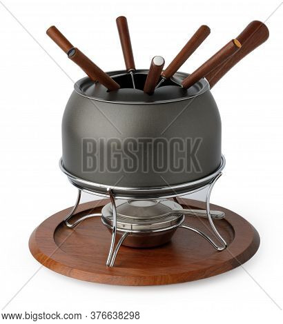 Metal Cookware For Fondue Preparation On White