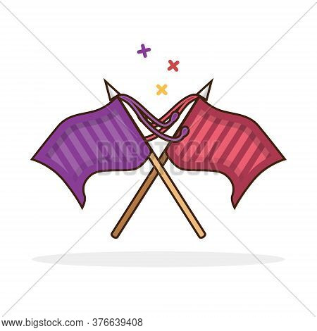 Knightly Flags Crossed Icon. Isolated Vector Sign Symbol.