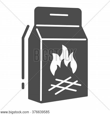 Coal Briquettes Solid Icon, Picnic Concept, Charcoal Paper Bag Sign On White Background, Charcoal Pa