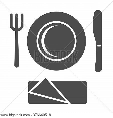 Plastic Disposable Tableware Solid Icon, Picnic Concept, Picnic Cutlery Sign On White Background, Pl
