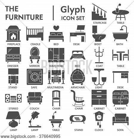Furniture Solid Icon Set, Home Decor Symbols Collection Or Sketches. Furniture Glyph Style Signs For
