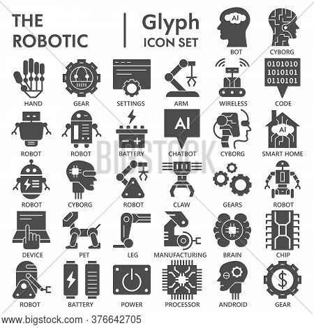 Robotic Solid Icon Set, Automatic Technology Symbols Collection Or Sketches. Artificial Intelligence