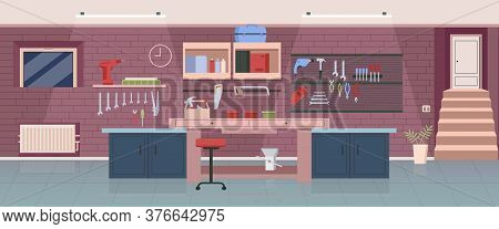 Carpenter Workshop Flat Color Vector Illustration. Woodworking Office, Garage 2d Cartoon Interior De