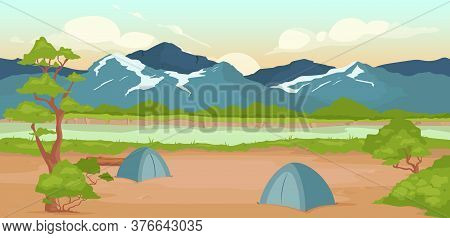 Campground Flat Color Vector Illustration. Wild River Bank. Recreation In Nature. Summertime Active