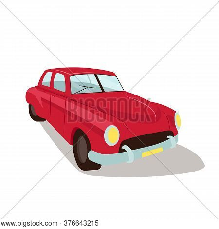 Red Vintage Car Flat Color Vector Object. Old Fashioned Obsolete Automobile. Antique Auto Rent And R