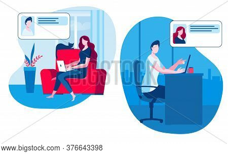 A Man And A Girl Communicate Online. A Girl With A Laptop Is Sitting At Home, A Man Is Sitting In Th