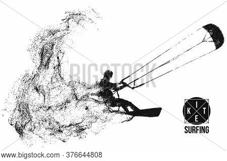 Kiteboarding, Hydrofoil. Silhouette Of A Kitesurfer. Freeride Competition. Vector Illustration. Than