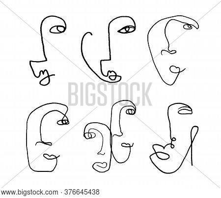 Set Of Abstract Human Faces One Line Fine Art Isolated On White Background. Vector Illustration In H