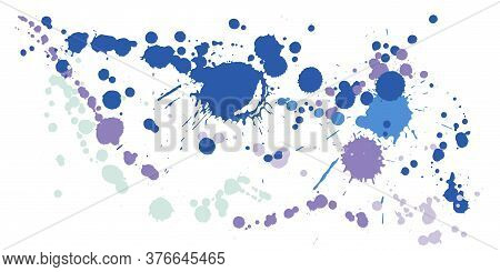 Watercolor Paint Stains Grunge Background Vector. Artistic Ink Splatter, Spray Blots, Dirty Spot Ele