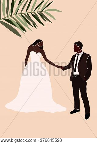 Abstract Wedding Couple Groom And Bride Card Isolated. Fashion Minimal Trendy People In Cartoon Flat