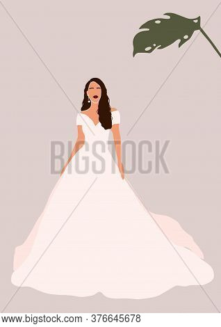 Abstract Bride In Wedding Dress Card Isolated On Light Background. Fashion Minimal Trendy Woman In C