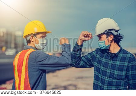 Asian Man Two People Engineer Shake Hand New Normal On Site Construction