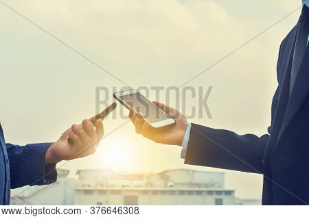 Businessman Holding Mobile Phone Cellphone Technology