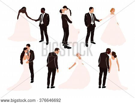 Set Of Abstract Wedding Couple Grooms And Brides In Various Pose Isolated. Multiracial African Ameri