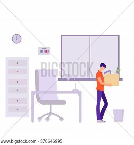 Dismissal Of An Office Worker Illustration. Sad
